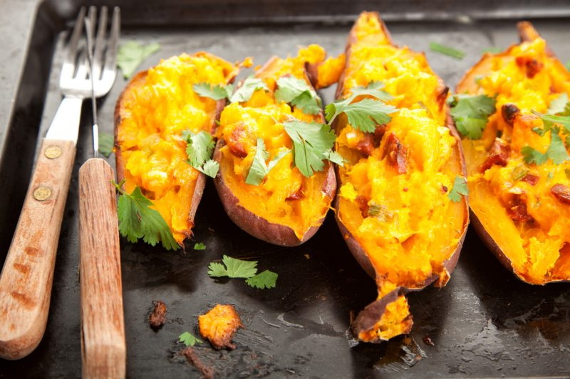 Stuffed sweet potatoes with chorizo